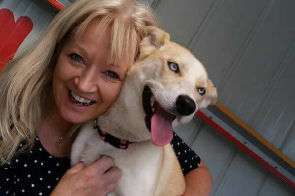 Kathy and 'Rubia' having a cuddle at the Dogs' Home in Risdonvale.
